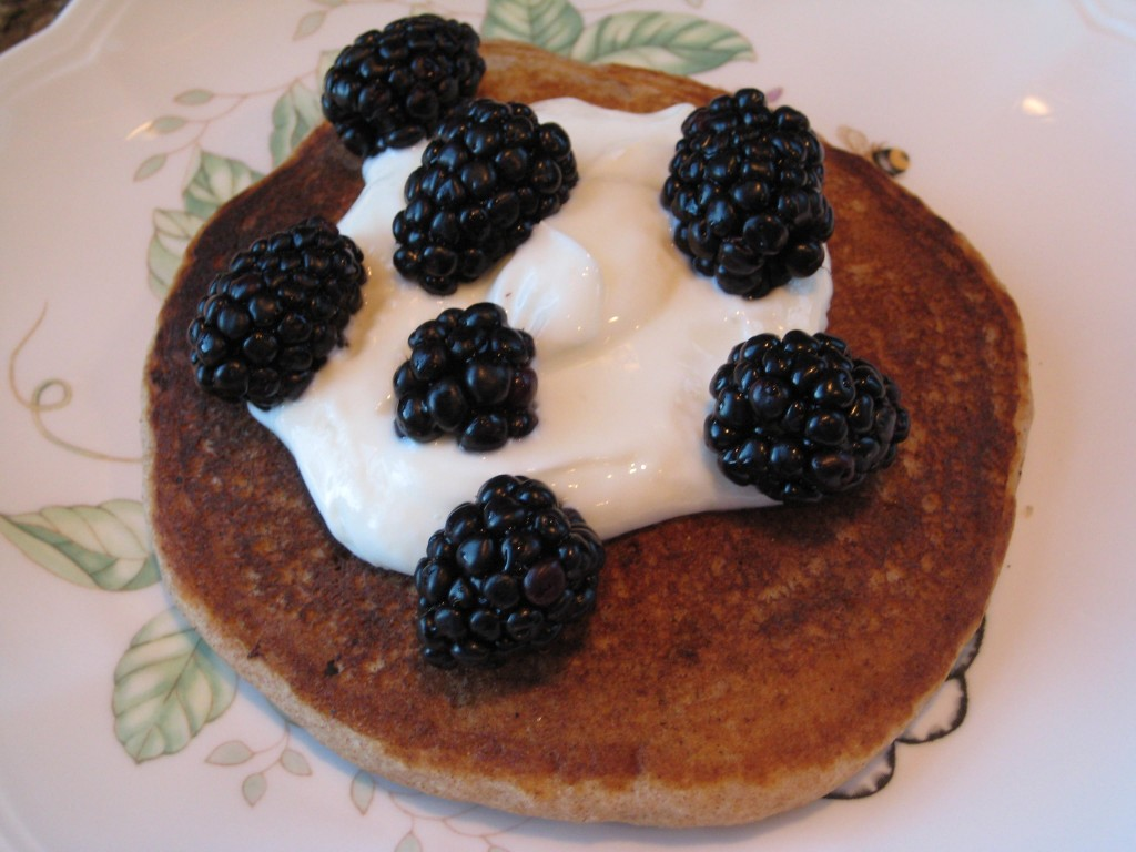 Today's Yummy Whole Grain Breakfast, Greek Yogurt and Blackberries.