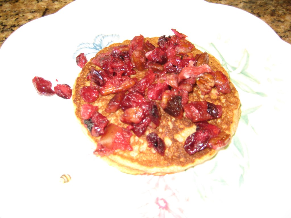 Cranberries, apples and nuts topping Dr. Grandma's Pancakes