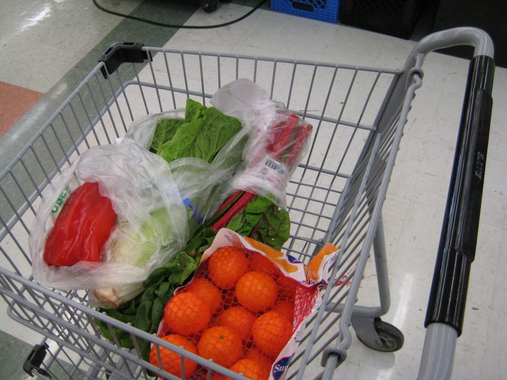 A colorful shopping cart leads to a colorful dish.