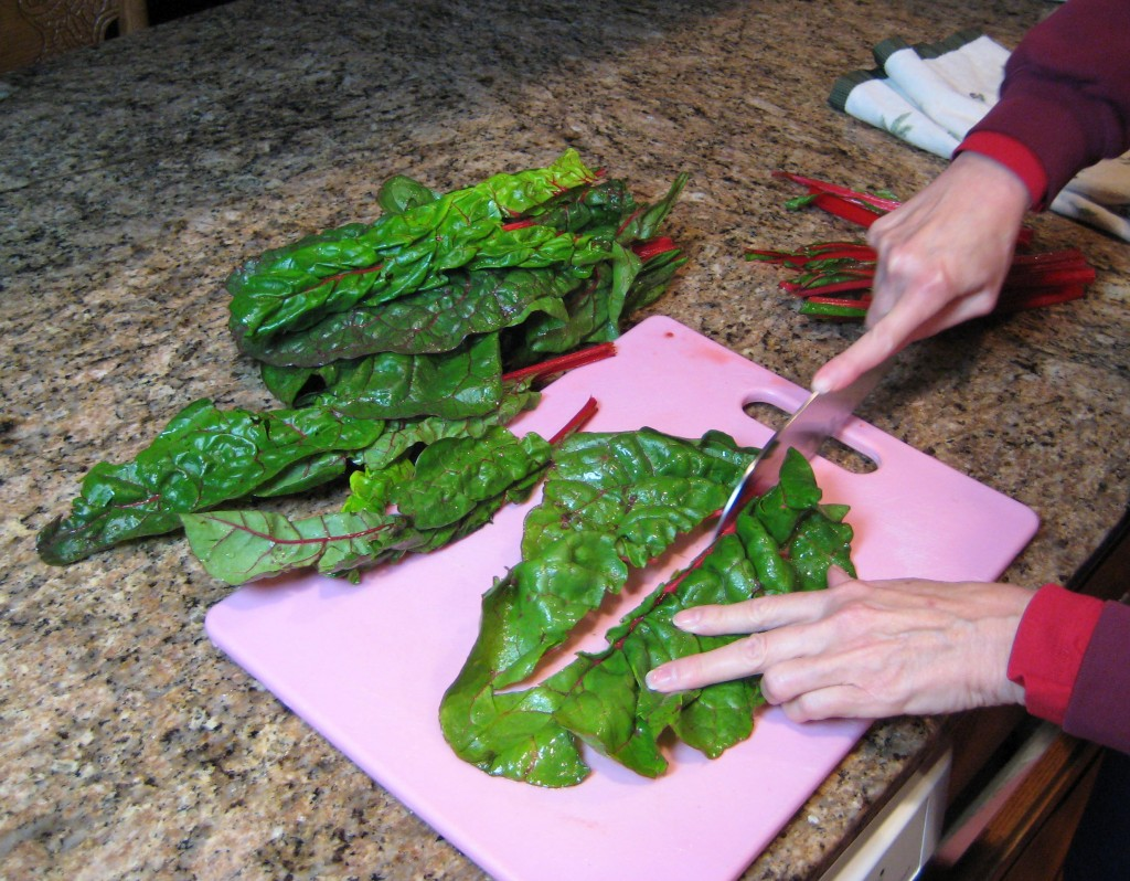 Cut the large leaves in half.