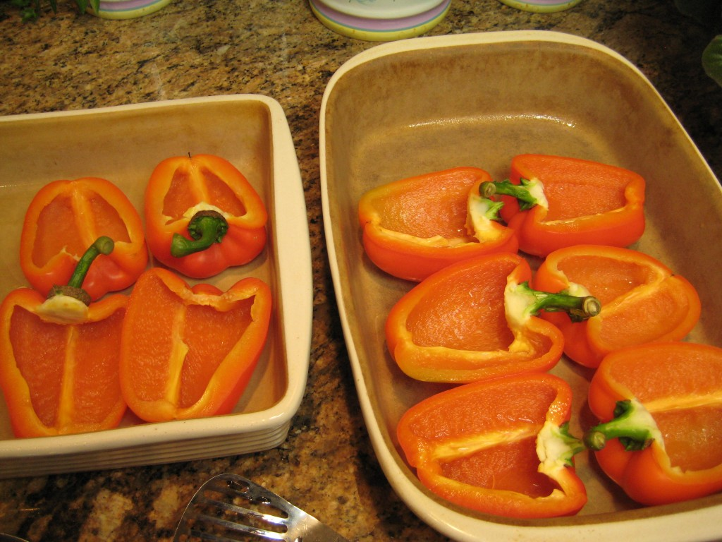 Peppers in the baking dish.