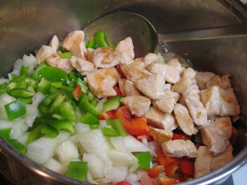 Add chicken to the other ingredients.