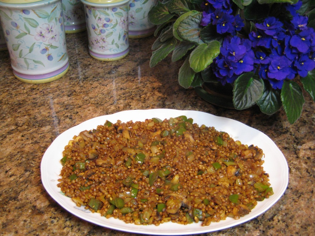 Put the wheat berry mixture on a platter.