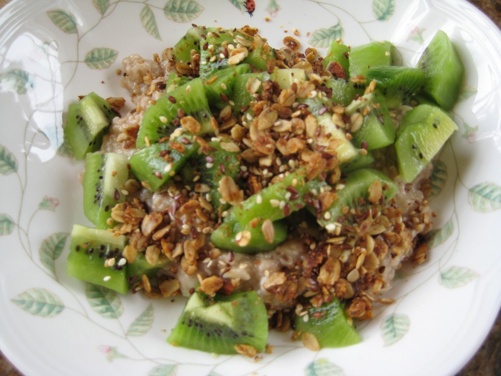 Adding kiwi to hot cereal may entice your family to stay for breakfast.