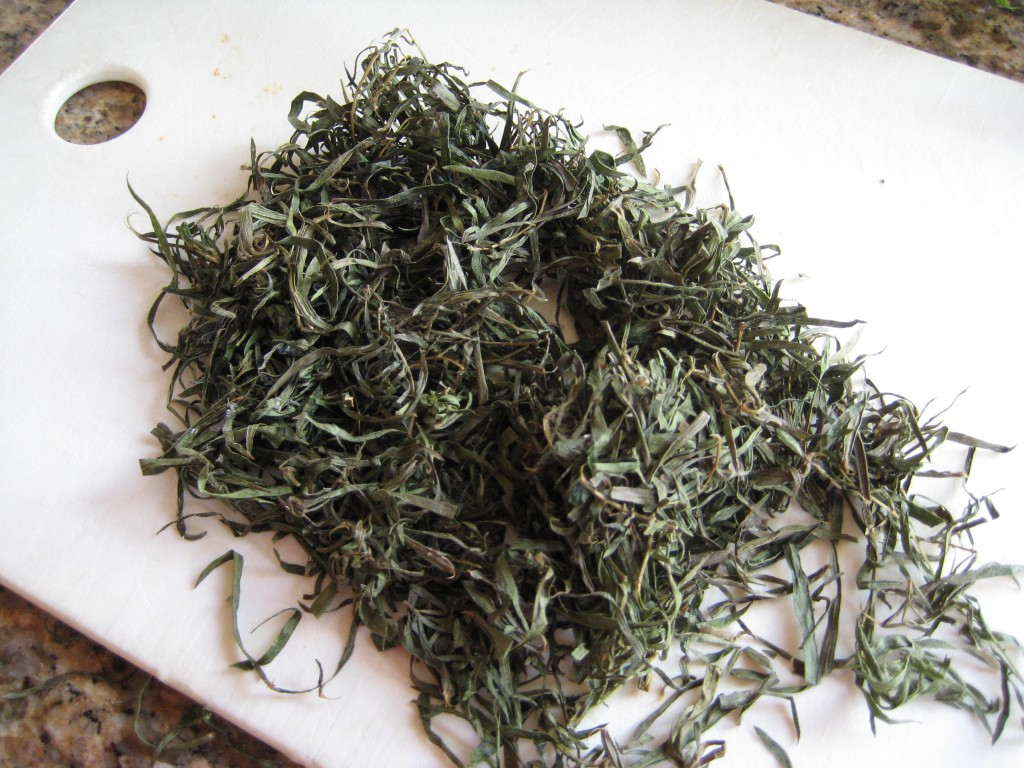 A bunch of frozen tarragon from my freezer - just use herbs from your spice rack.