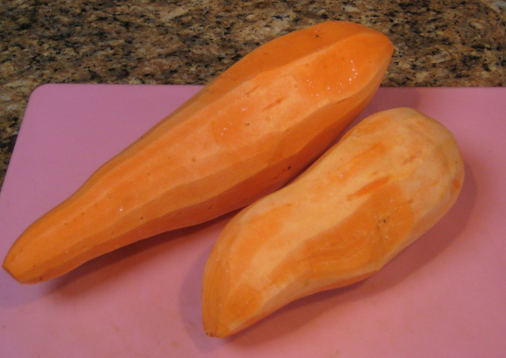 While the beets are baking, peel the yams and cut into chunks.