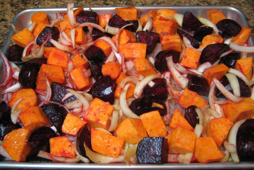 Mix the onion/yam mixture in with the partially roasted beets.