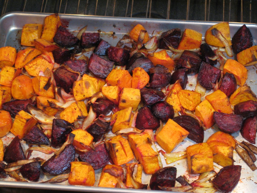 When the roasted vegetables are tender and caramelized, remove from the oven.