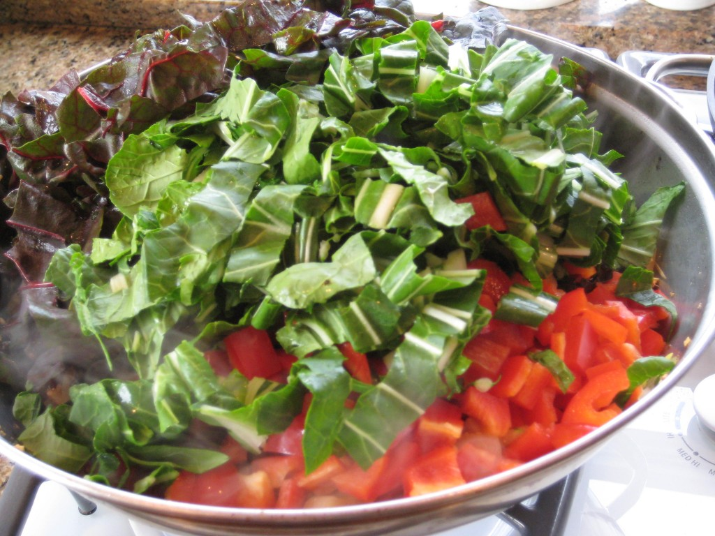 Add leaves and red peppers.