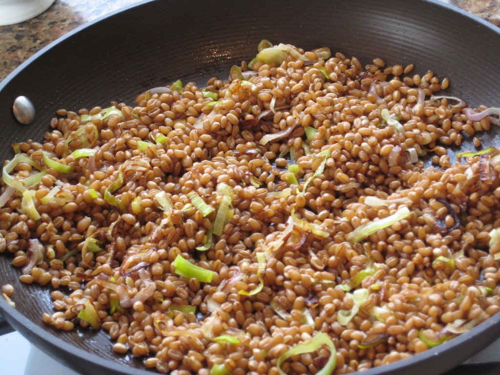 Add the shallots and leeks to the wheat berries or brown rice.