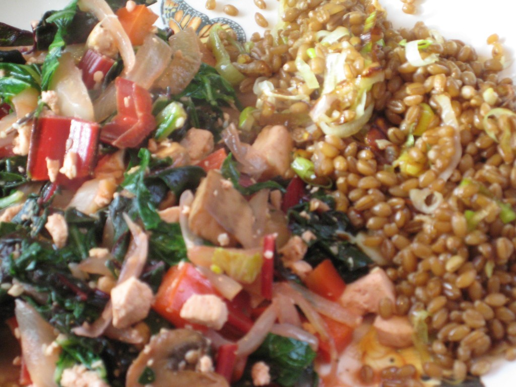 Serve stir fry with the wheat berries or brown rice.