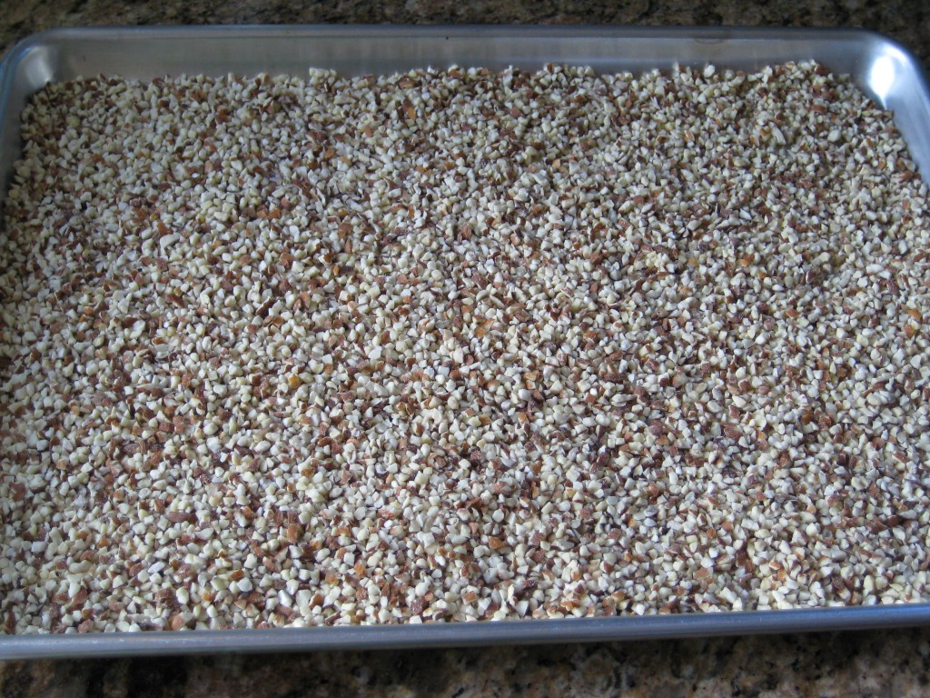 Spread the almonds on a cookie sheet/baking sheet with sides.