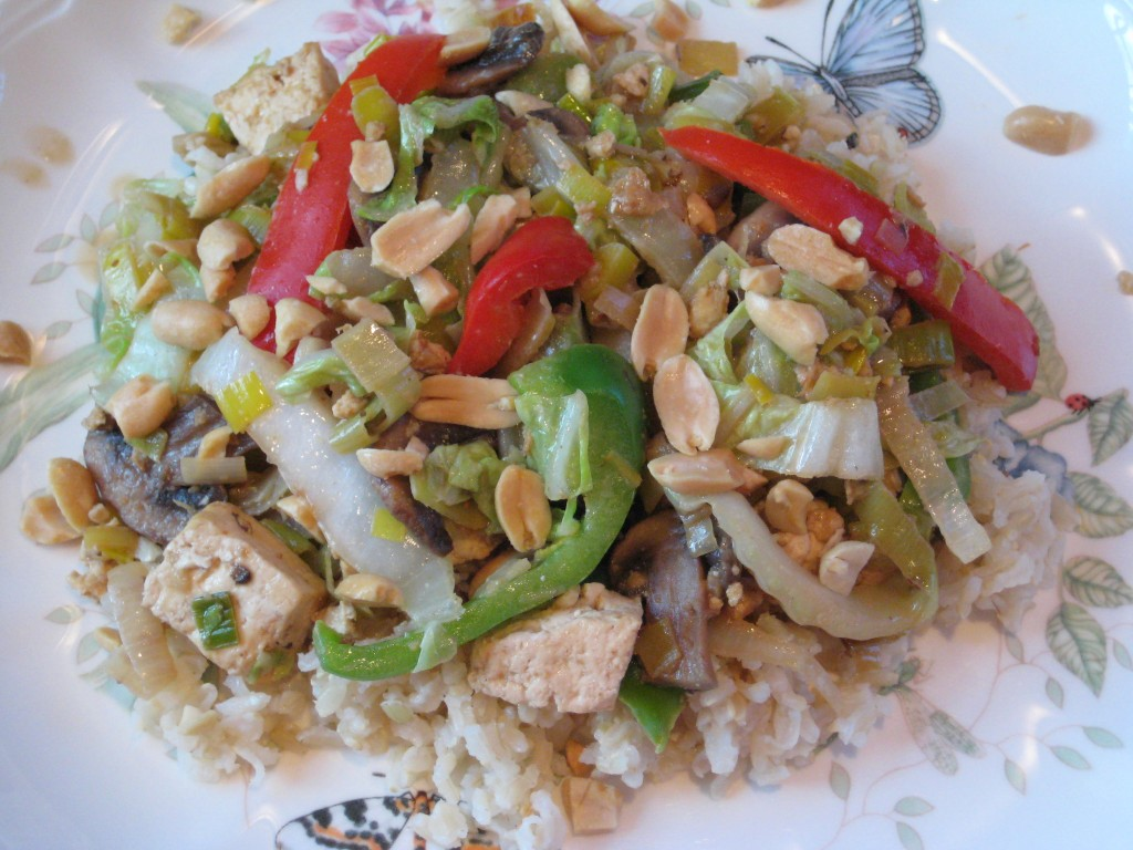 After stirring in the lime juice, serve over brown rice or wheat berries and sprinkle with peanuts.