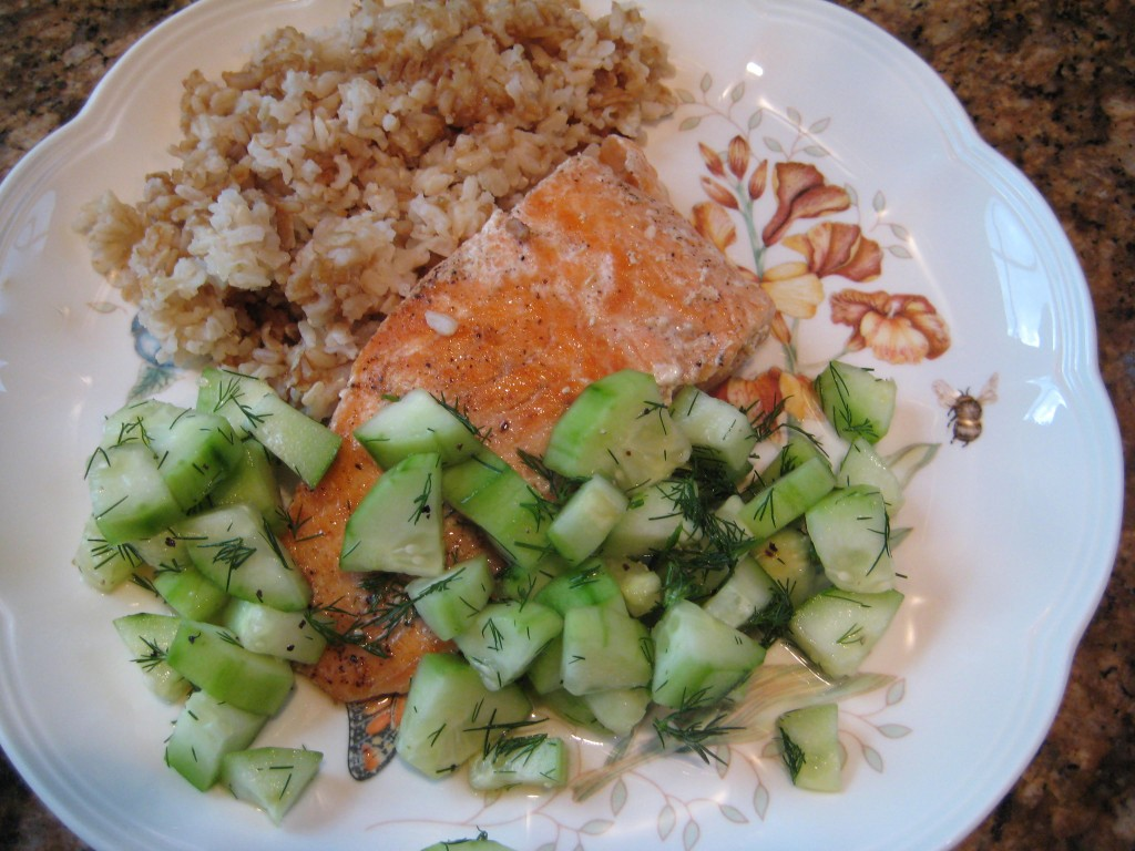 I served it with salmon and rice, but it is a mild refreshing flavor to go with many foods.