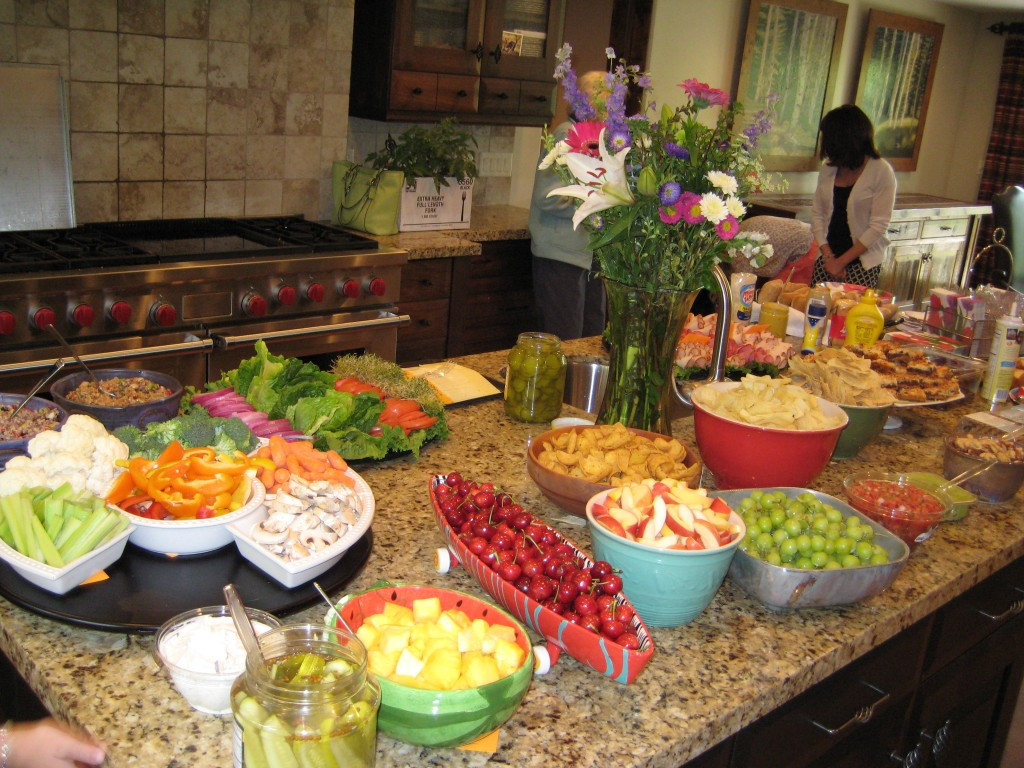 Heather's inviting, colorful, healthy, and yummy buffet luncheon.