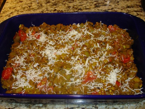 "Put into 13"" x 9"" casserole dish and sprinkle with parmesan cheese."