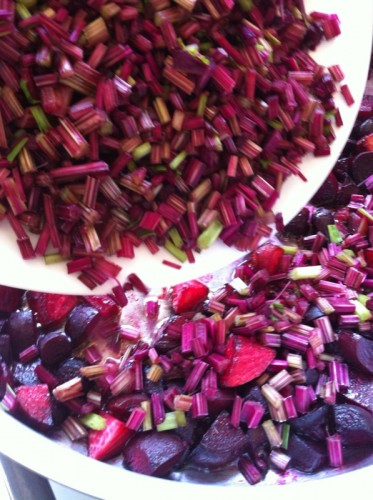 Adding the stems to the beets