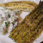 Pan Grilled Rock Cod Fillets ans Asparagus